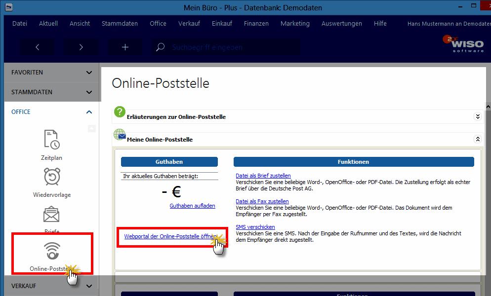 online-poststelle einstellen
