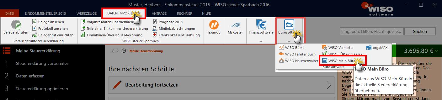 steuer-stichtig Export in WISO MeinBüro
