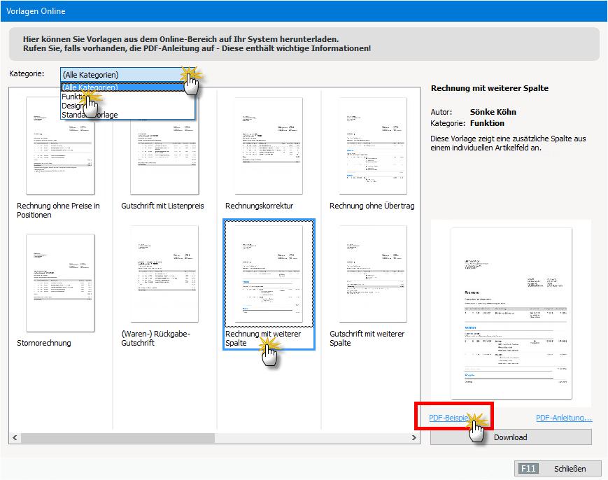 online-vorlagen auswählen