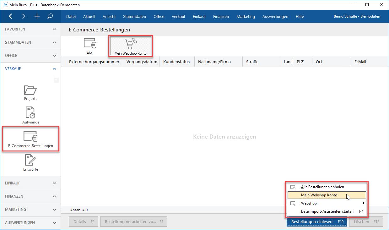 Modul Webselling Webshop anlegen
