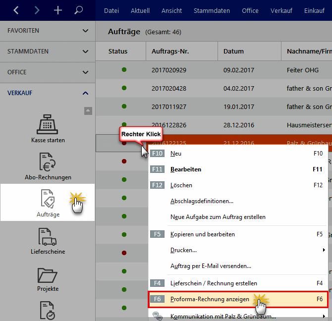 Proforma-Rechnungen WISO Mein Büro
