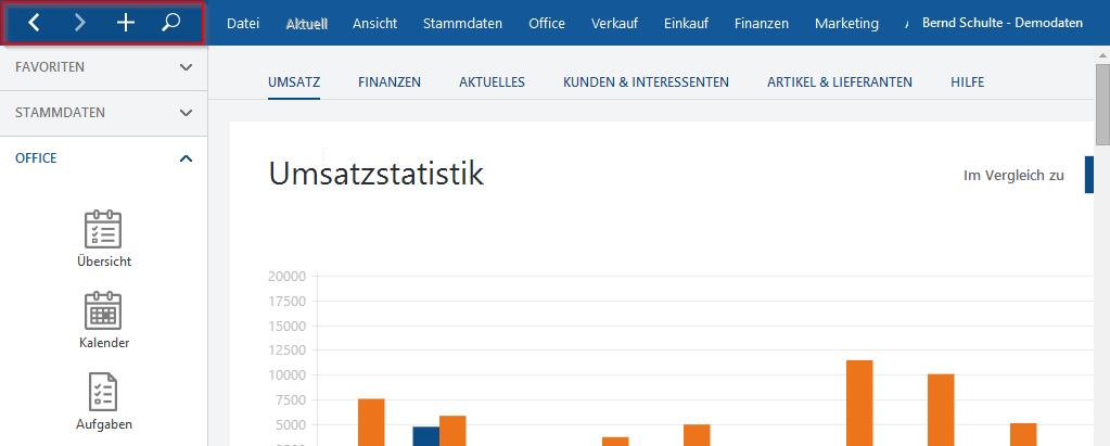 Optik von WISO Mein Büro Umsatzstatistik