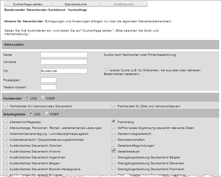 Steuerberater-Suchmaschine WISO MeinBüro Suchanfrage