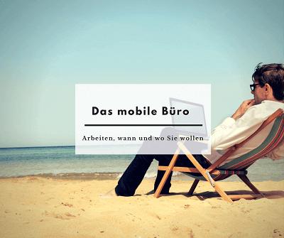 mobiles arbeiten zum beispiel am strand