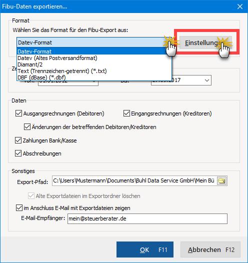 Fibu Dateien exportieren in WISO Mein Büro