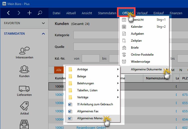 Allgemeines Memo exportieren WISO MeinBüro