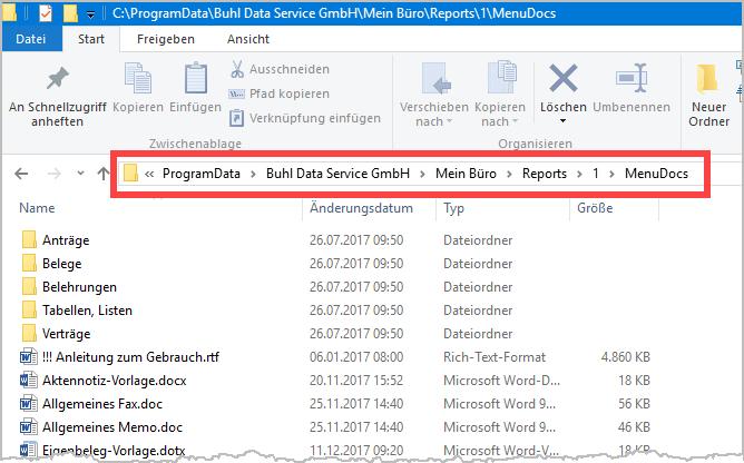 Ablageort Exporte WISO MeinBüro