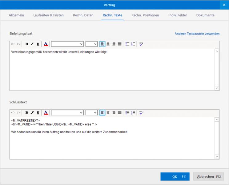 Vertragsbeschreibungen als Textbausteine mit Modul WISO Mein Büro