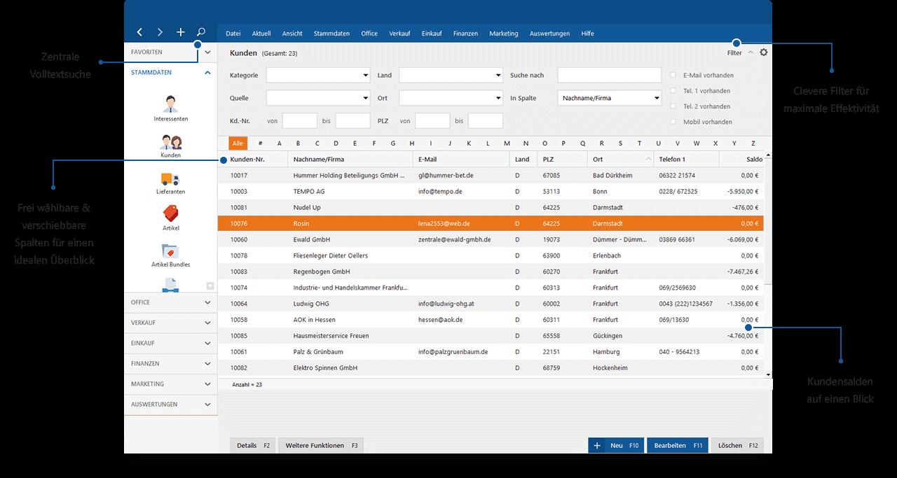 CRM und Kundenverwaltung in der Bürosoftware MeinBüro