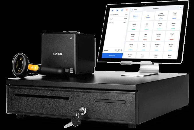 Das MeinBüro-Kassenpaket besteht aus hochwertigen hardware Komponenten: Surface Pro 4 Tablet, Bon-Drucker, Kassenlade und Handscanner.