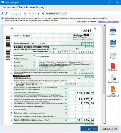 Einnahmen-Überschussrechnung erstellen in WISO Mein Büro