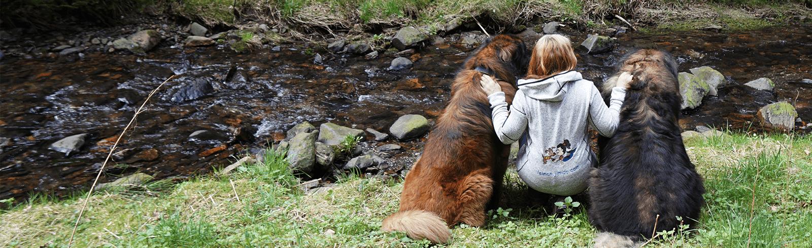 Antje Neef mit ihren Hunden vertreibt Hundeleinen mit Hilfe von WISO Mein Büro
