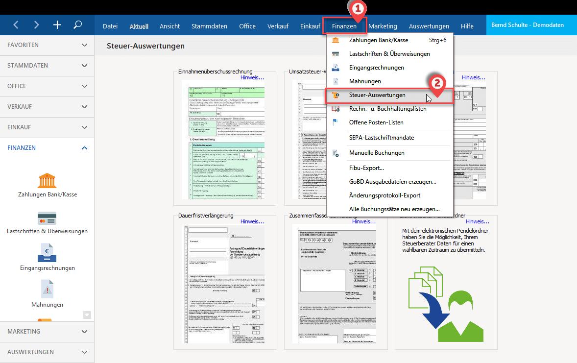 Finanzen und Steuerformulare in WISO Mein Büro