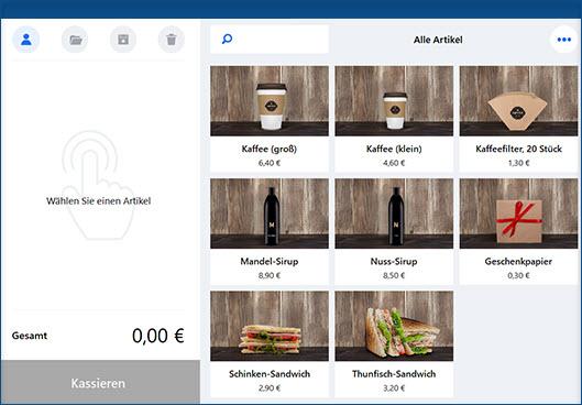 Überscihtliche Kassenoberfläche mit MeinBüro und dem Modul Kasse