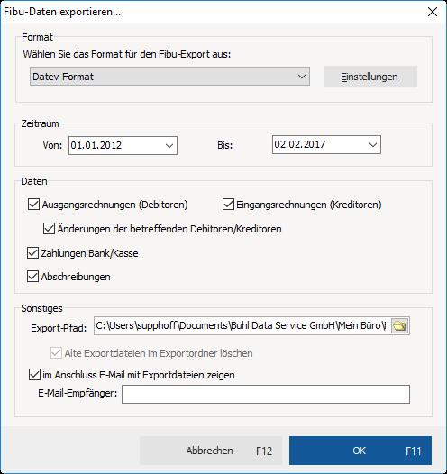 PDF Export der Steuerunterlagen mit MeinBüro und dem Modul Steuer