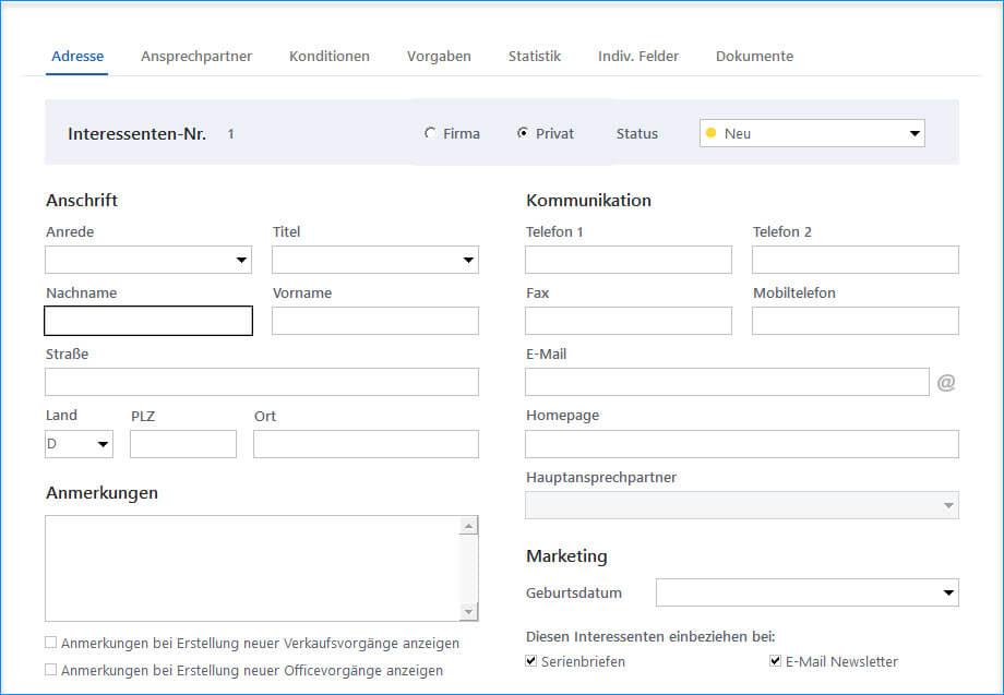 Vorgänge dokumentieren mit MeinBüro und dem Modul CRM