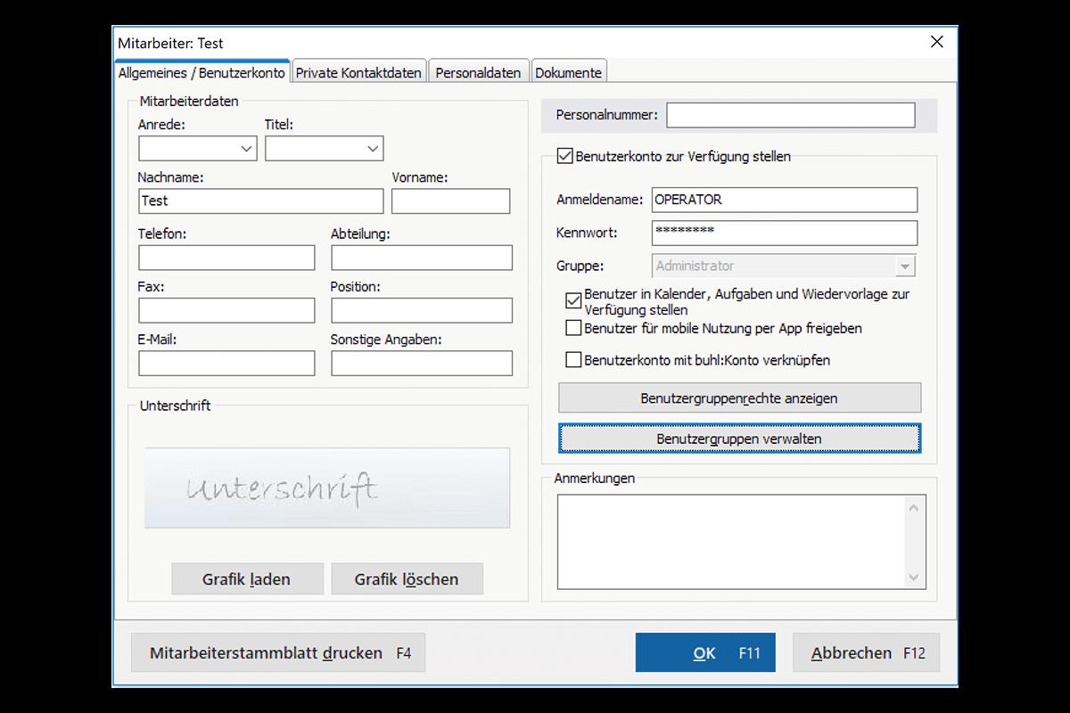 Mit dem Modul Arbeitsplatz+ können Sie einen weiteren Benutzer in MeinBüro anlegen.