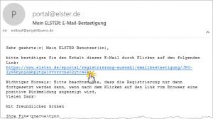 Elster E-Mail Bestätigung