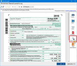 Einnahmen-Überschussrechnung Elster-Versand in WISO Mein Büro