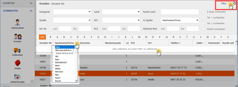 Diverse Filterfunktionen in WISO MeinBüro