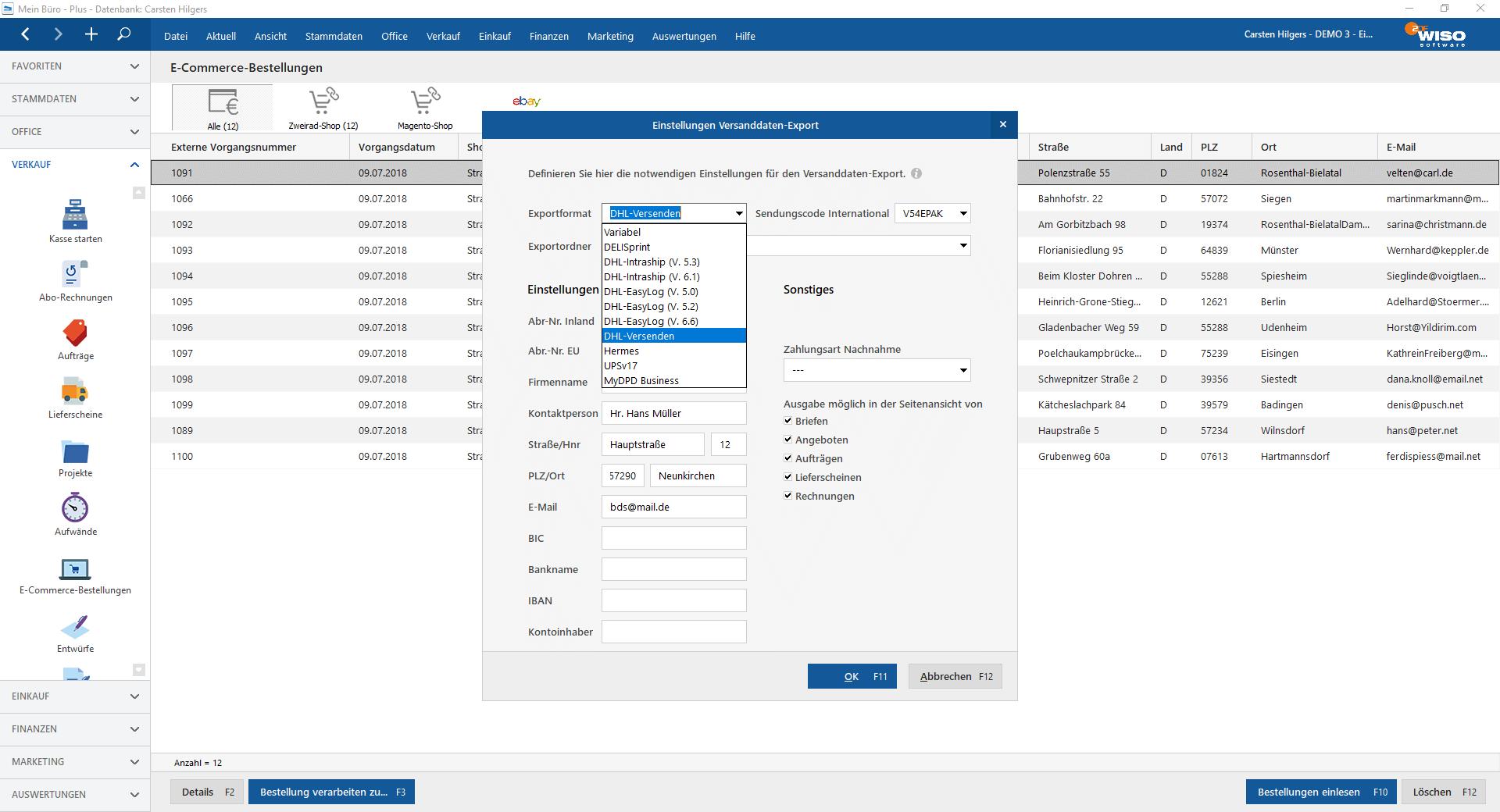 Einfacher Versanddaten Export | Bürosoftware MeinBüro