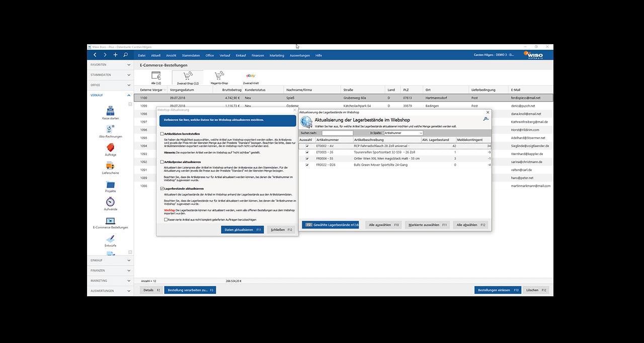 MeinBüro - Onlineshop Schnittstelle - Bürosoftware