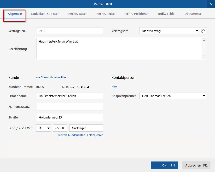 Vertragsmanagement - Bürosoftware - MeinBüro