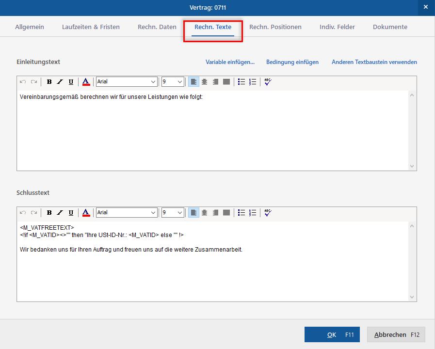 Beispiel für Rechnungstexte