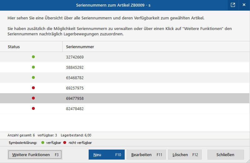 Seriennummern | MeinBüro Bürosoftware