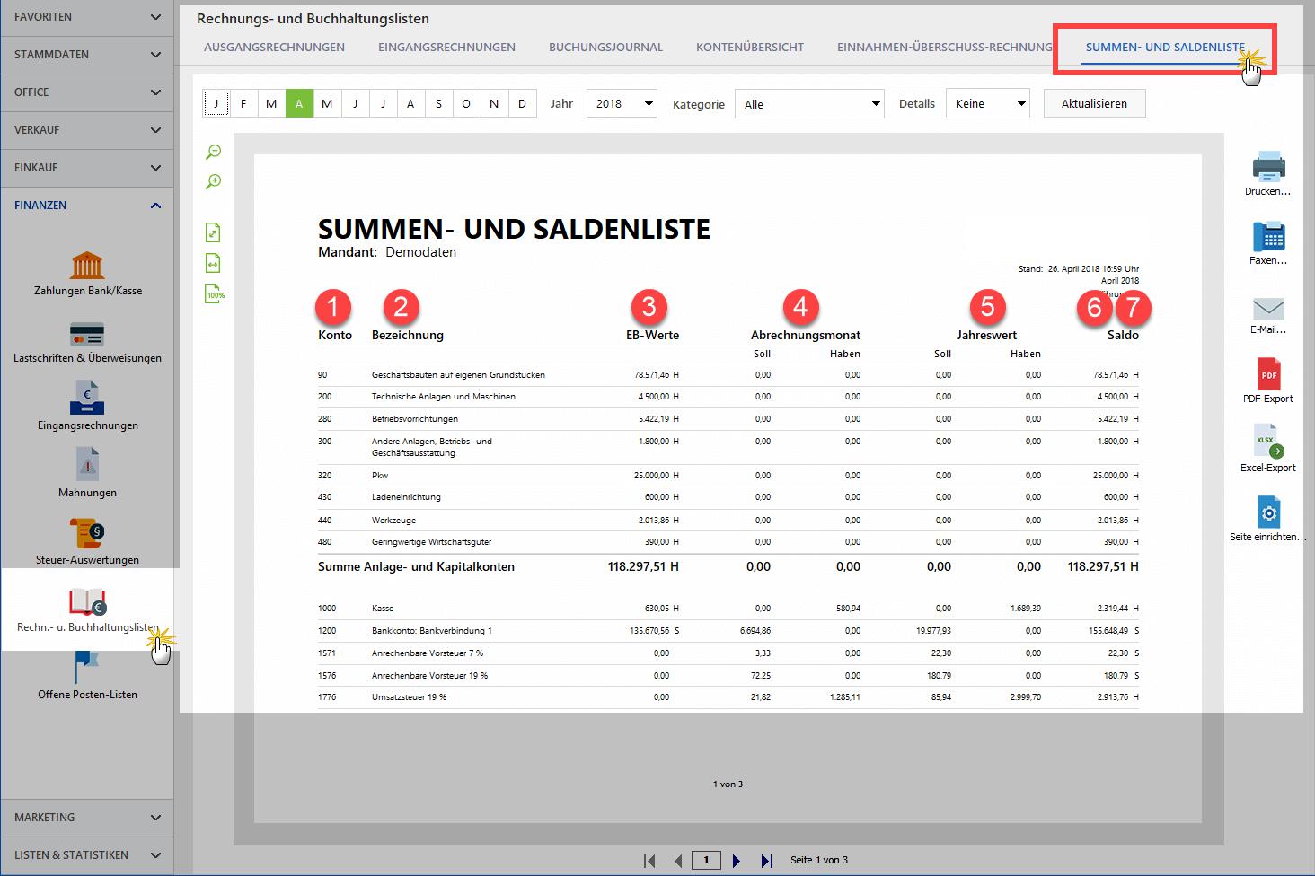 Wie ist eine Summen- und Saldenliste aufgebaut?