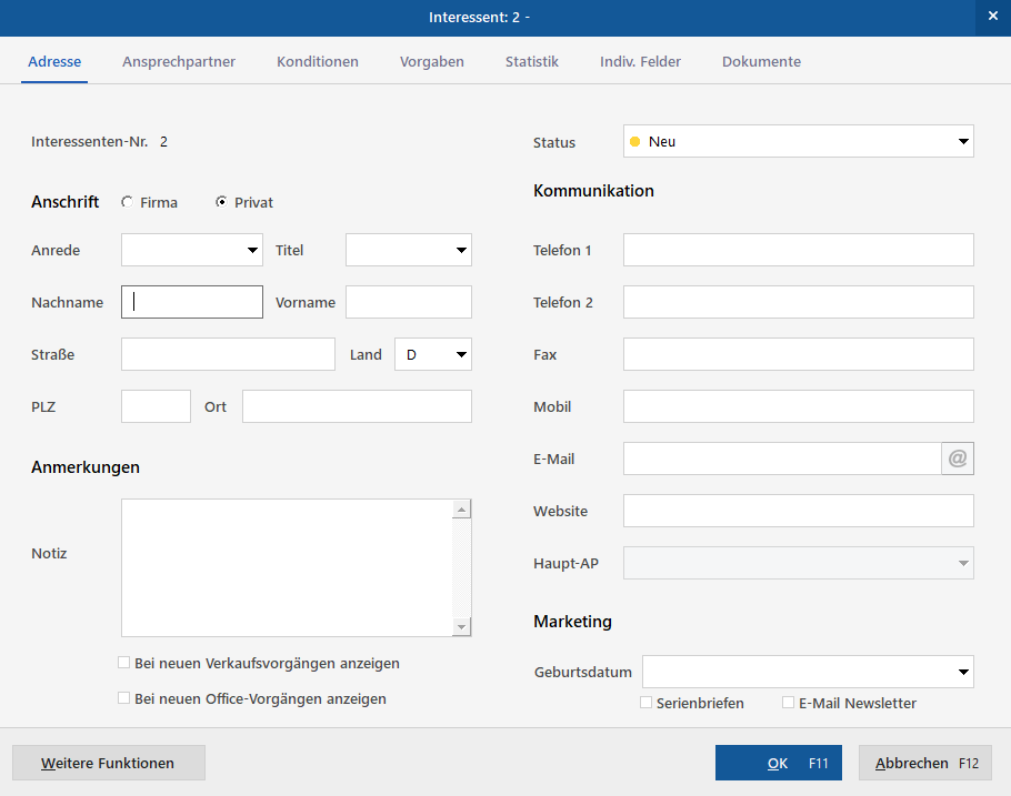 CRM | MeinBüro Bürosoftware
