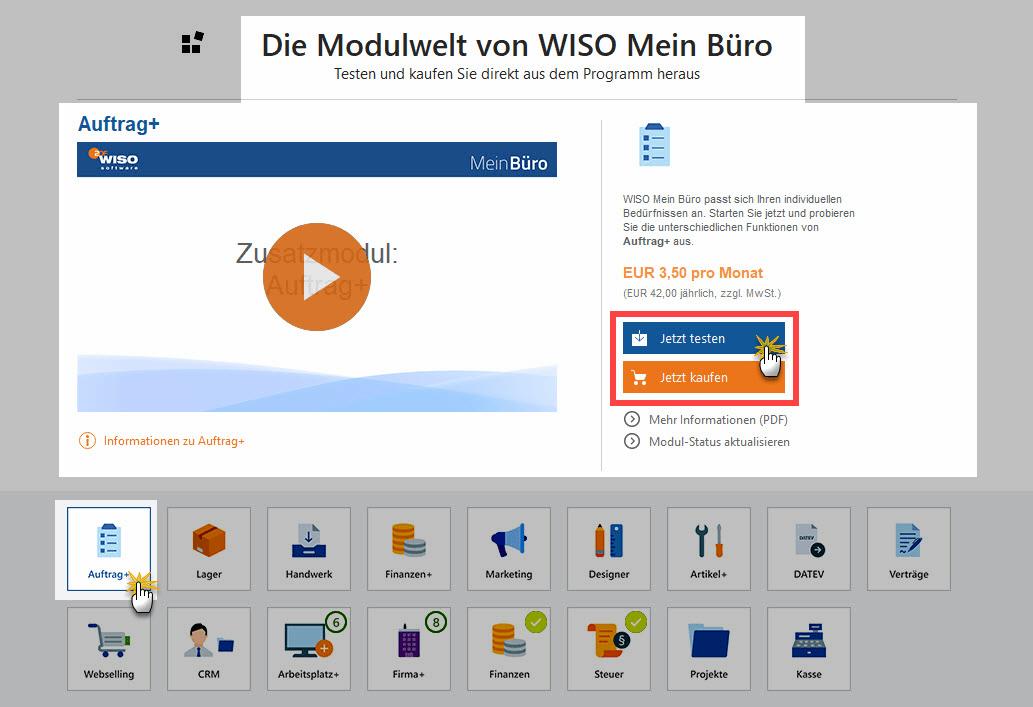 MeinBüro Bürosoftware | Modul Auftrag+