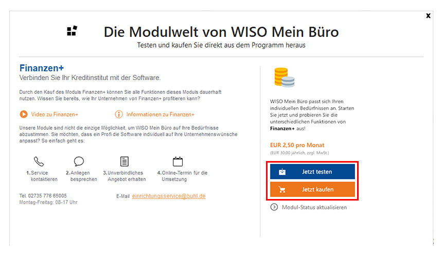 Module von MeinBüro kostenlos Testen - Anleitung-Schritt4