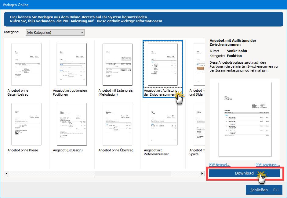 """Schaltfläche """"Download"""""""