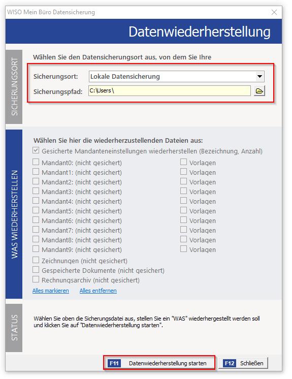 Screenshot zur Datenwiederherstellung mit WISO Mein Büro
