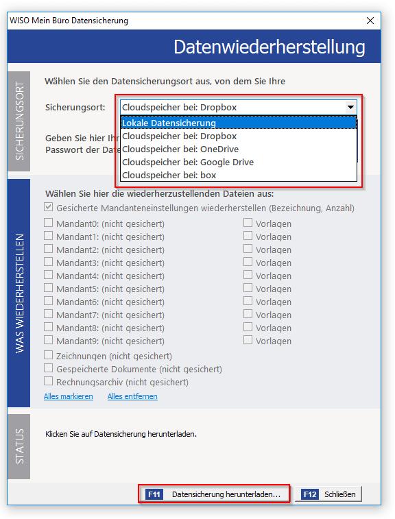 MeinBüro-Datenimport von Cloudspeicher