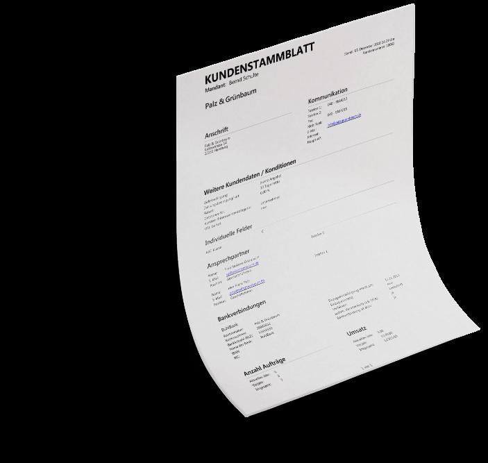 Kundenstammblatt MeinBüro