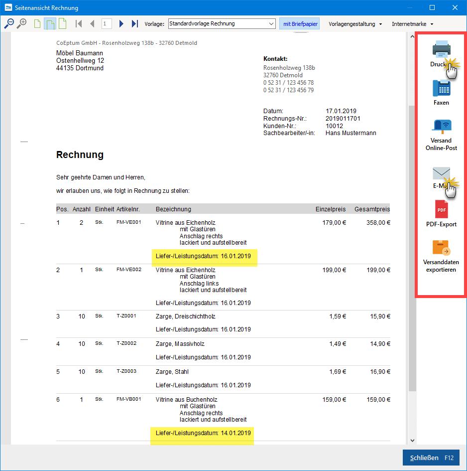 Sammelrechnung Seitenvorschau