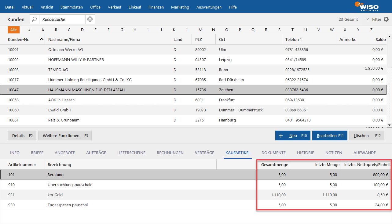 MeinBüro Preise vergangener Bestellungen einsehen