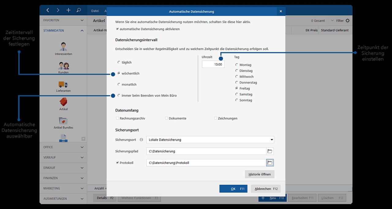 Modul Sicherung+ für Datensicherheit & Datenschutz in MeinBüro