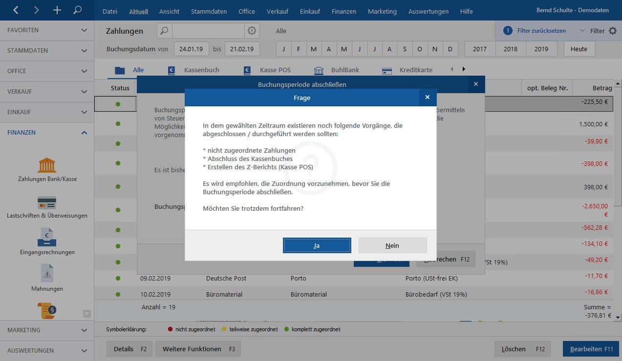 MeinBüro Optimierte GoBD-Unterstützung