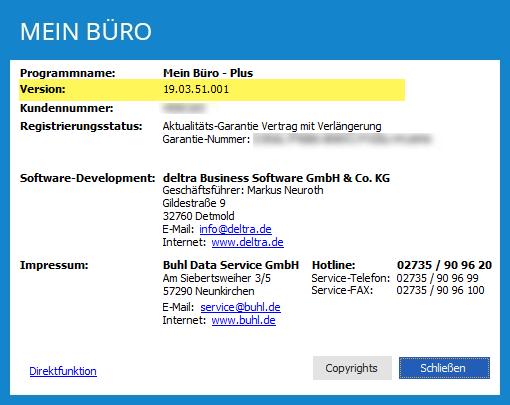 """MeinBüro-Version über den Menüpunkt """"Hilfe > Info"""""""