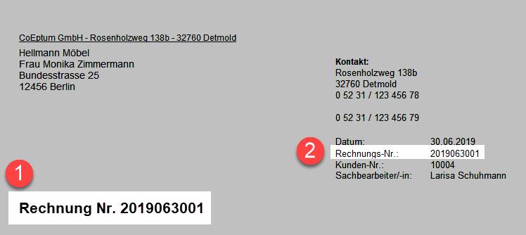 Platzierung der Rechnungsnummer