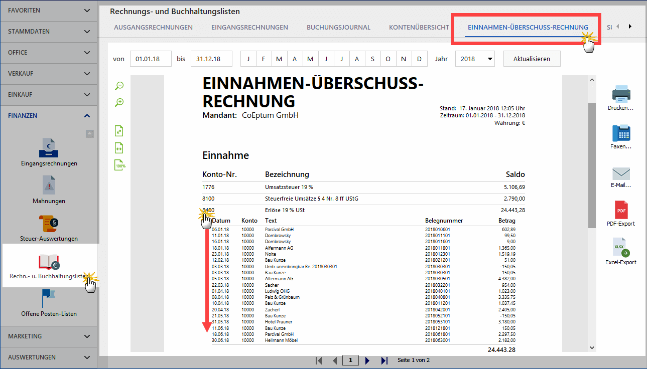 Die EÜR-Buchhaltungsliste