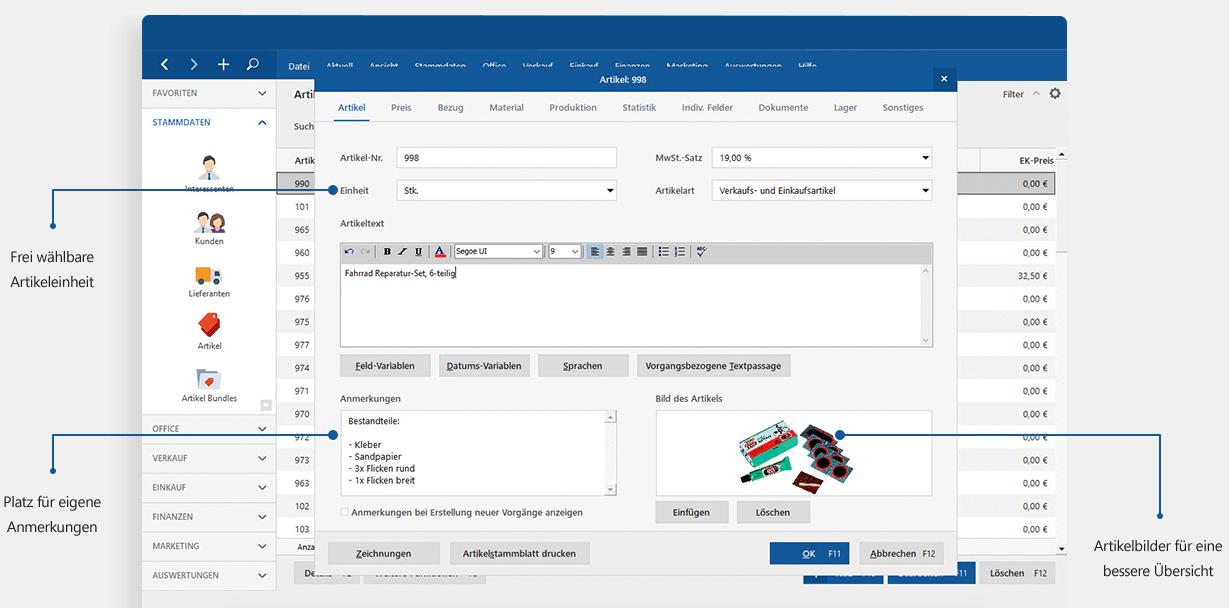 Software für Gründer: Artikelverwaltung mit MeinBüro