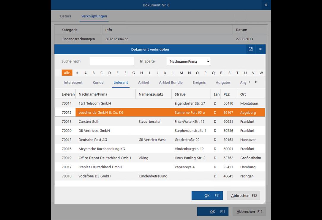Dokumentenmanagement: Dokumentverknüpfungen hinzufügen