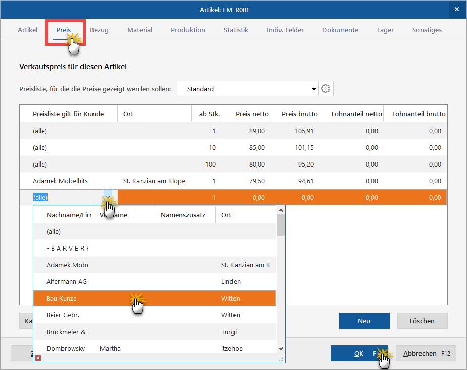 Rabatt bei Verkaufspreisen