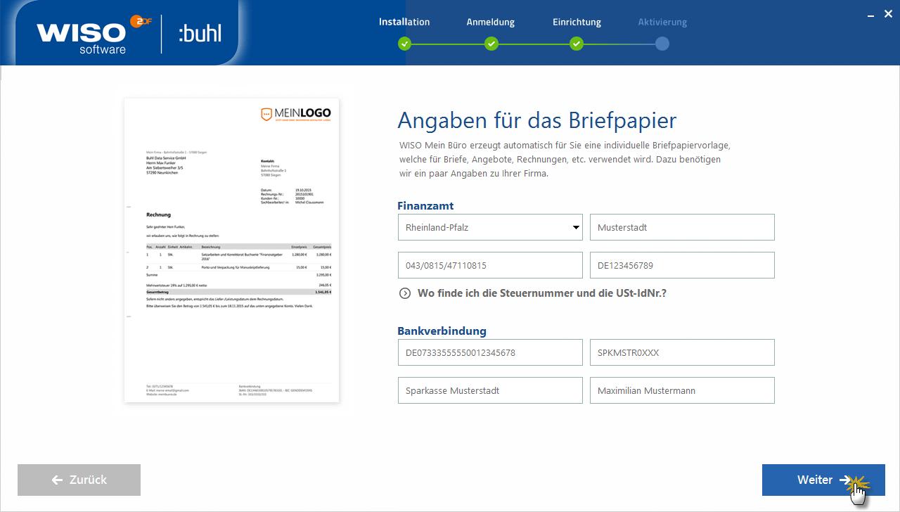Briefpapier Daten angeben