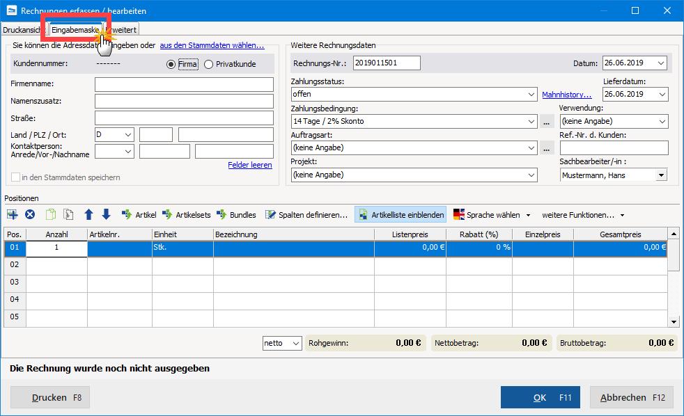 Eingabemaske zur tabellarischen Dateneingabe