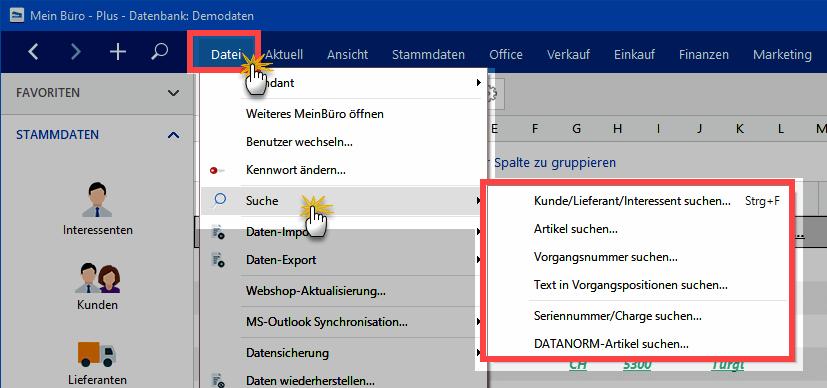 Suche über Datei